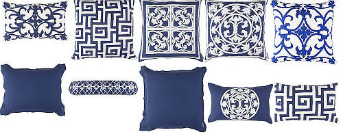 Lili Alessandra Navy Applique Pillows