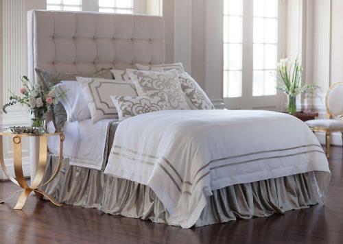 Lili Alessandra Soho White Linen & Ice Silver Velvet Bedding