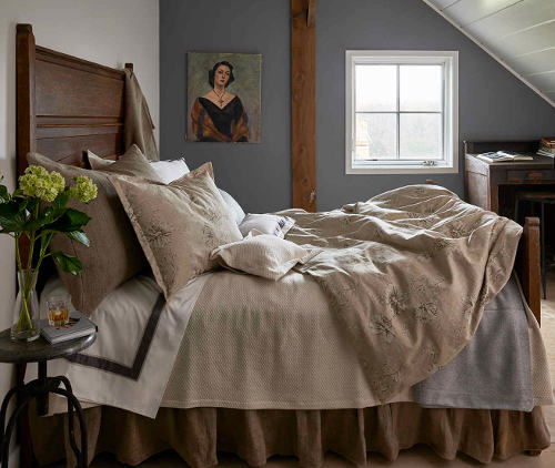 Traditions Linens Shelby bedding collection with neutral color palette.