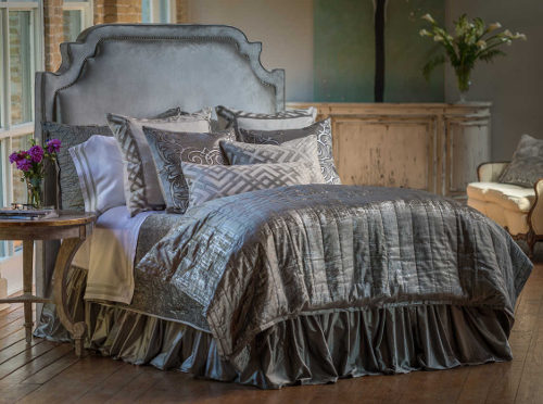 Lili Alessandra Karl Platinum Decorative Pillows and Coordinated Bedding