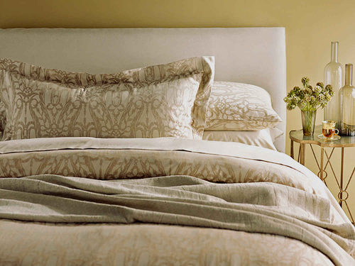 Bring Italian beauty and romance to your home with the vegetable-dyed jacquard Doria bedding from SDH Purists.