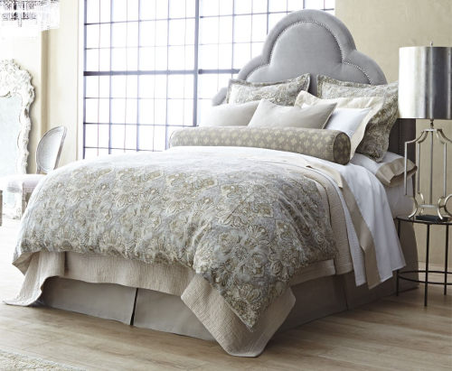 Peacock Alley Baroque timeless bedding tapestry print implies heritage.