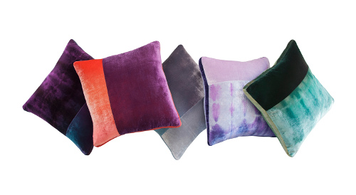Kevin O'Brien reinvents the color block decorative pillow by uniting velvets with a coordinated pattern or solid plus a tuxedo stripe along the side.