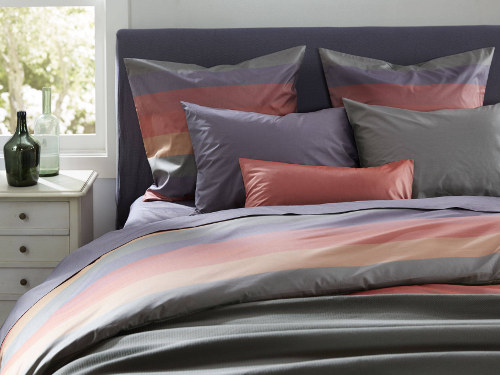 SDH Regatta sheets and duvet feature six colorful stripes.