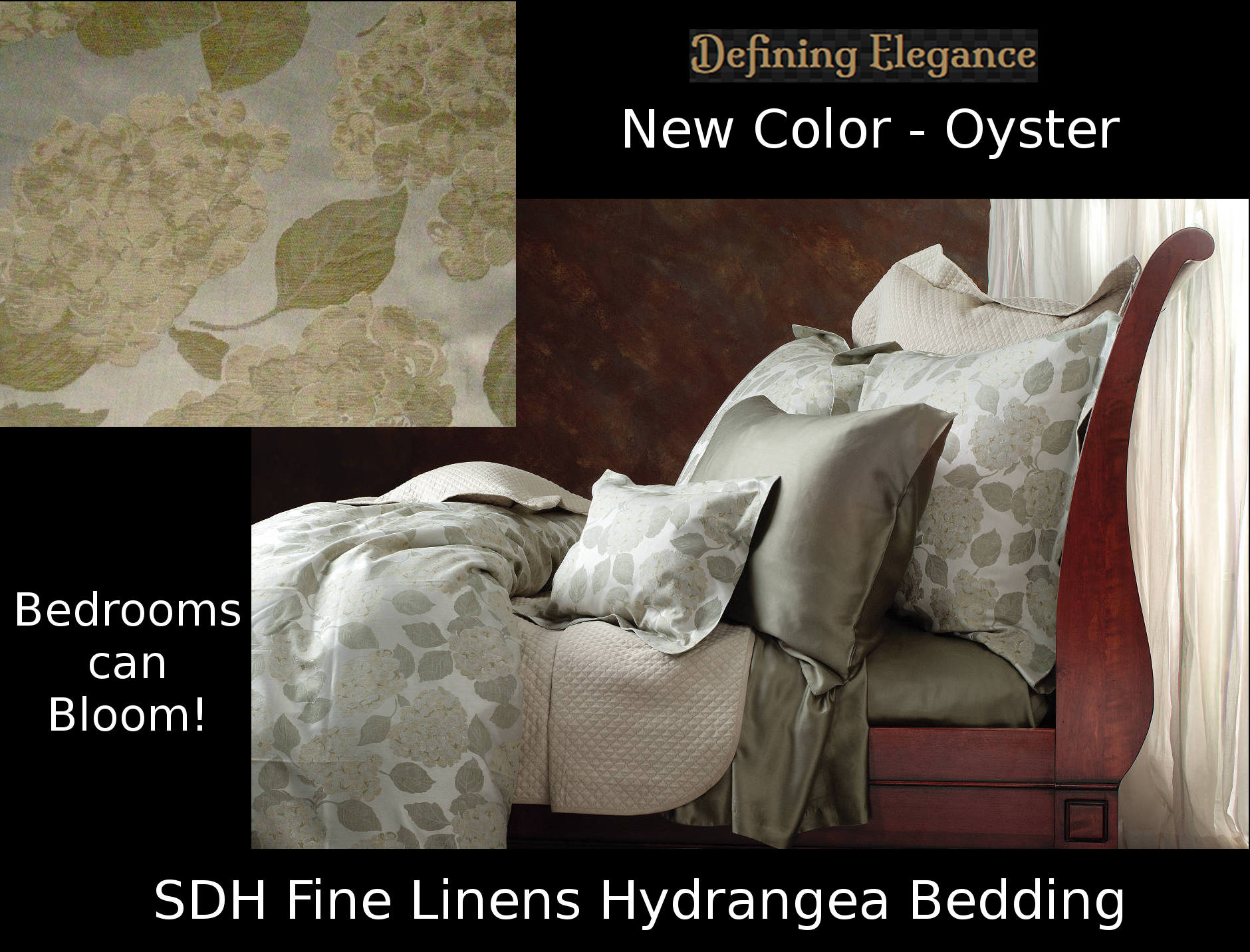 SDH Fine Linens Hydrangea bedding collection is available in two subtle tonal colorways.