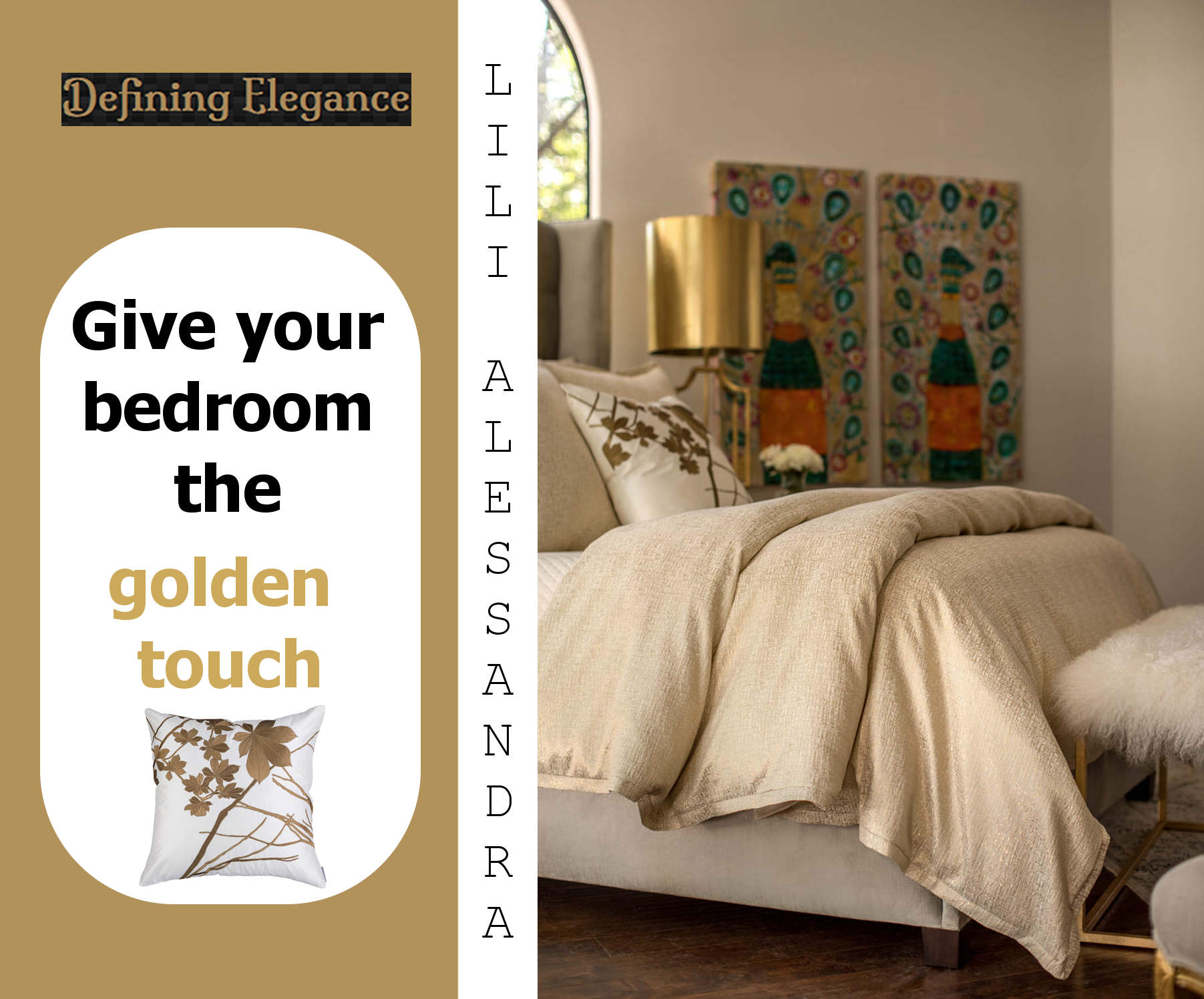 Lili Alessandra Sophia Ivory Linen and Cotton with Gold Lurex Bedding