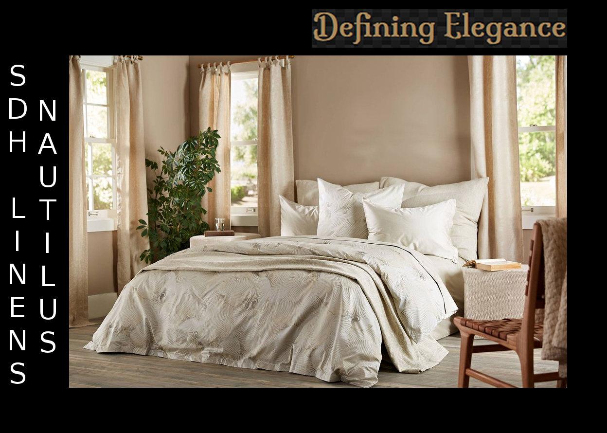 SDH Nautilus jacquard bedding in duvet, shams, sheeting, and bed skirt.