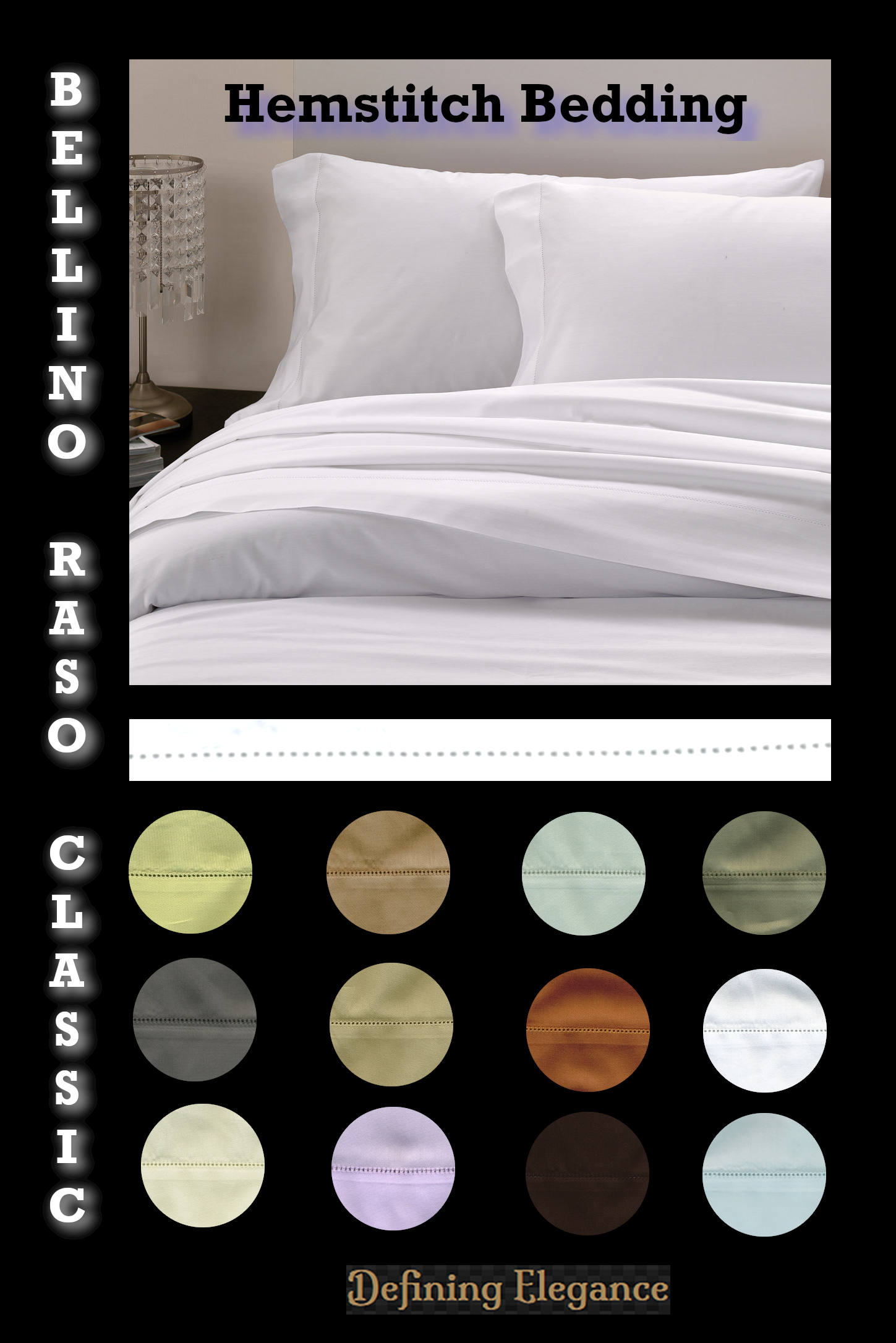 Bellino Raso Hemstitch Bedding Collection