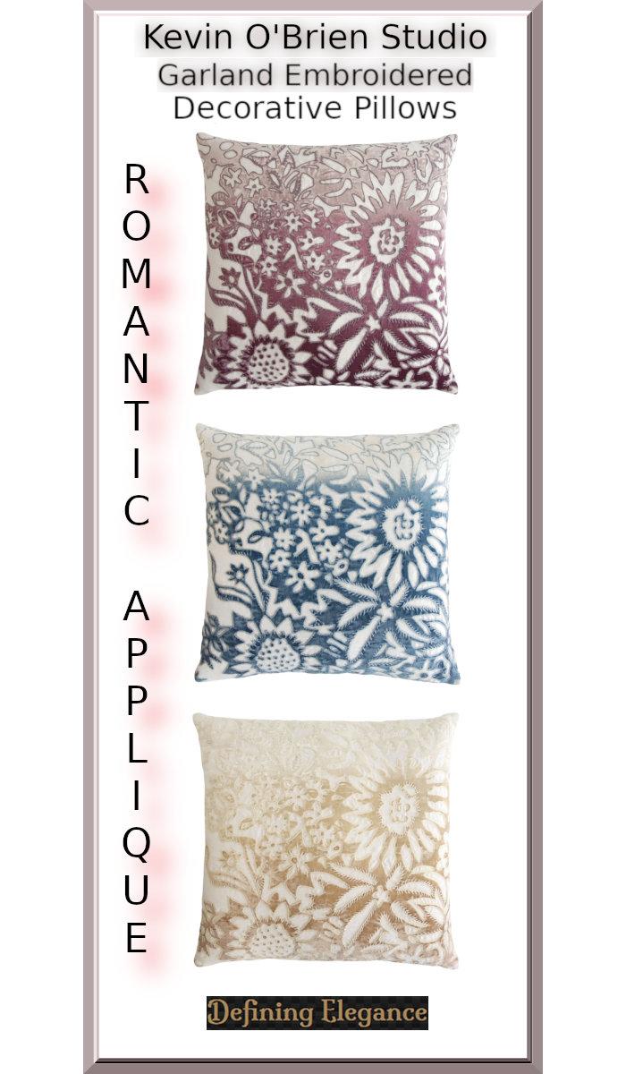Kevin O'Brien Studio Garland Embroidered Velvet Applique Decorative Pillow