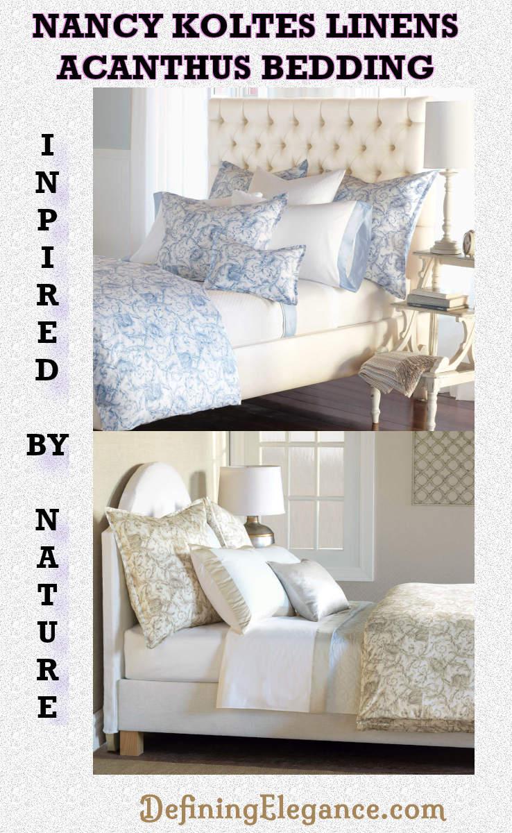 Nancy Koltes Linens Acanthus Cotton Sateen Duvet & Shams