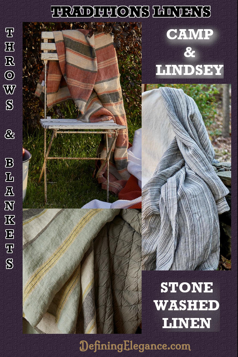 Traditions Linens Camp & Lindsey Linen Blanket Throw Collection.