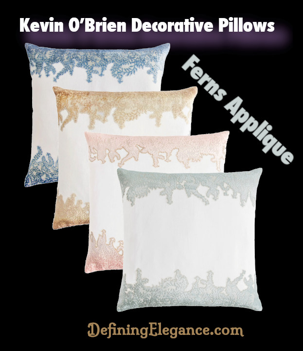 Kevin O'Brien Ferns Applique Decorative Pillows