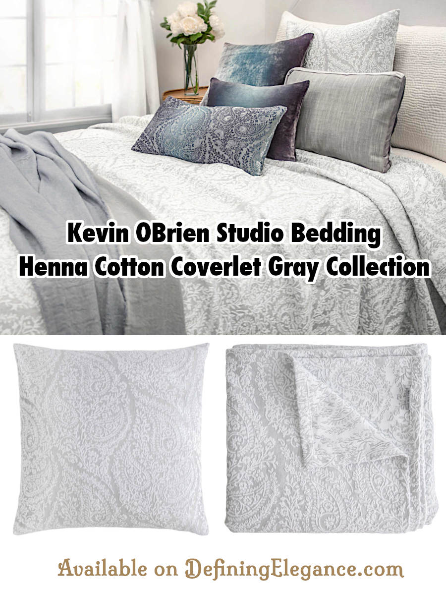Kevin OBrien Studio Bedding - Henna Cotton Coverlet Gray Collection