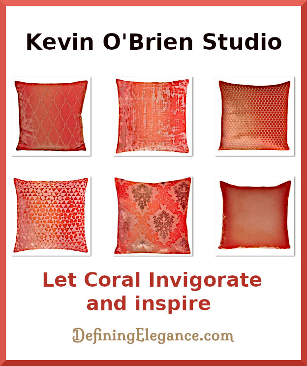 Kevin O'Brien Studio now has coral colored decorative pillows.