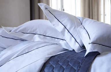 Alexandre Turpault Alma bedding shams close up.