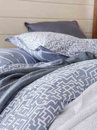 Alexandre Turpault Dedale Cotton Percale Bedding - Printed Labyrinth Pattern