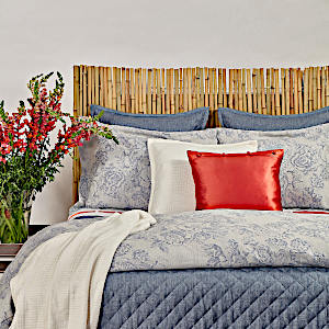 Ann Gish Stonewash Faux Linen + Roses Swatch - Art of Home Collection