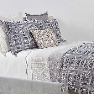 Ann Gish Pebble Stripe + Fringe Grey Swatch- Art of Home Collection