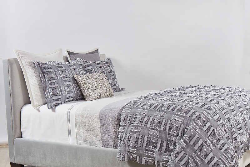 Ann Gish Pebble Stripe + Fringe Grey Set - Art of Home Collection