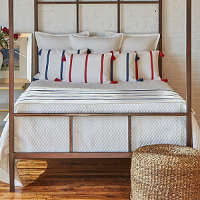 Ann Gish Canvas Stripe & Faux Flax Bedding Set - Art of Home