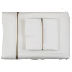Ann Gish Silk Trim Sheet Set in White/Mystery