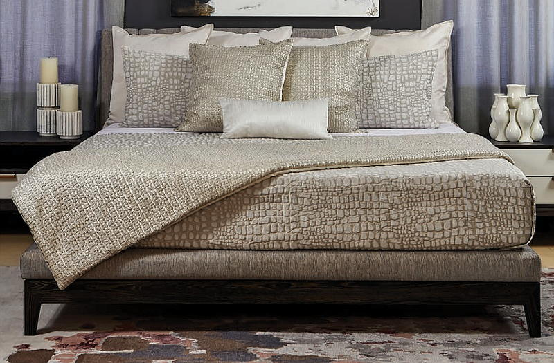Ann Gish Croc Coverlet & Metallic Mosaic Bedding Collectionn