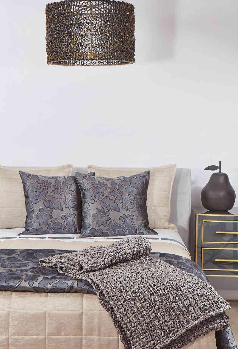 Ann Gish Slate Fiori & Stria Bedding Collection