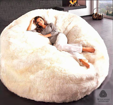Auskin Lambskin Beanbag with Lady.