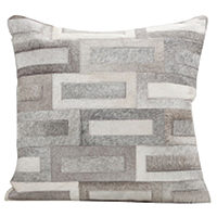 Fibre by Auskin decorative cowhide pillow stitched with contrasting sections help create a beautiful illumination.
