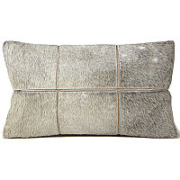 Decorative cowhide pillow by Fibre by Auskin - square cut for room dimension.