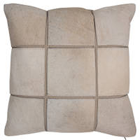 Neutral colored decorated pillow with bands create an eight section statement for you room.
