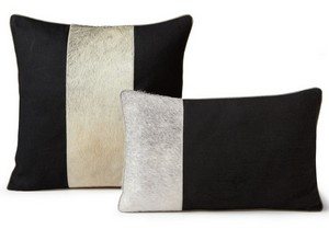 Fibre by Auskin Cowhide Dusk Black Decorative Pillow