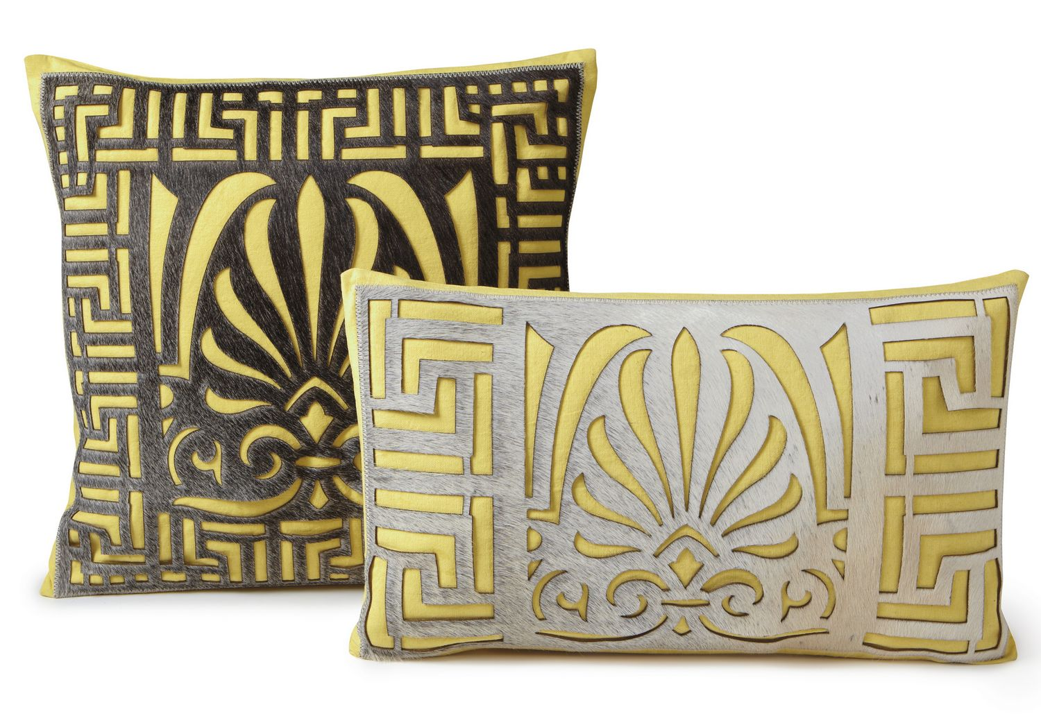 Fibre by Auskin Cowhide Serene Yellow Decorative Pillows