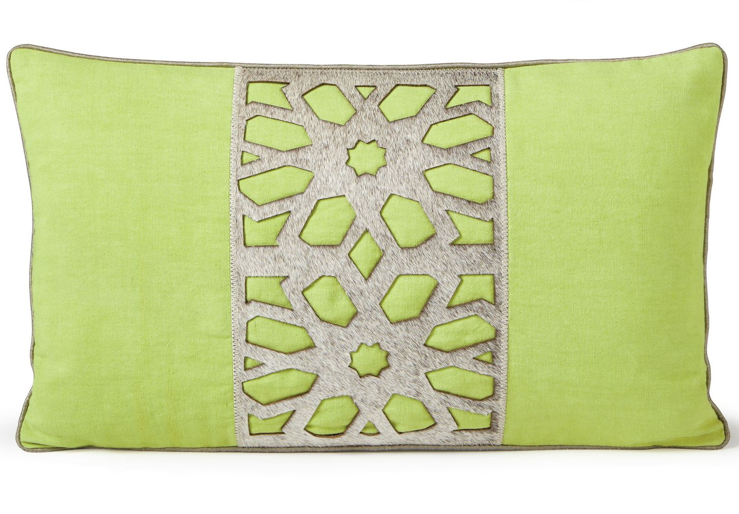 Uuu Fibre By Auskin Cowhide Flower Green Decorative Pillows