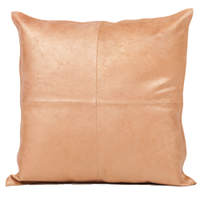 Beautiful cowhide pillow with four quarters stitched together.