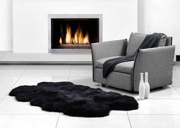 Fibre by Auskin Longwool Black Quarto Pelt Rugs.