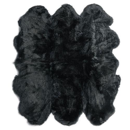 Fibre by Auskin Longwool Black Sexto Pelt Rugs.