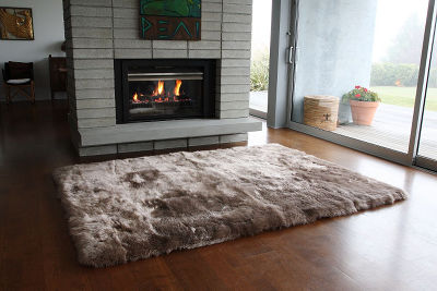 Fibre by Auskin Longwool Rug in Taupe