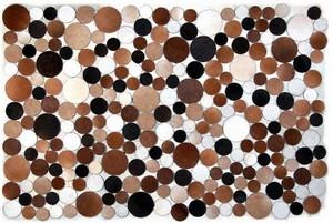 Fibre by Auskin Circles Cowhide Rug - Browns & Cream.