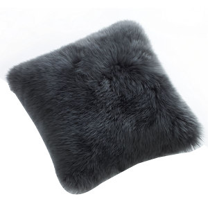 Fibre by Auskin Sheepskin Cushion in Steel