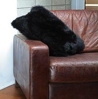 Fibre by Auskin Lambskin Cushion in Black