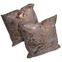 Metallic Cowhide Decorative Pillow