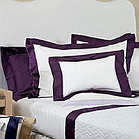 Bellino Sanremo is a soft and luxurious solid sateen with an applied sateen border finished with embroidered line of satin stitch on flat sheets, shams, cases and duvet covers.