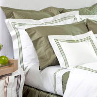Bellino Tivoli bedding is made with three rows of satin stitch on flat sheets, duvets, pillow shams & cases.