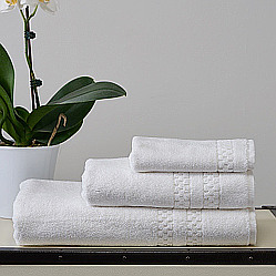 Towels are 700gsm with a checker border. 100% cotton terry cloth.
