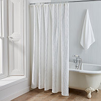 The Arlington shower curtain will bring a touch of spa-like elegance to your home with its intricate matelasse jacquard detailing in crisp white.