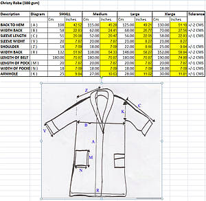 Christy of England Robe Measurements
