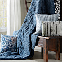 Blue rouched quilt with matching standard shams.