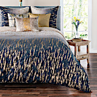 "title=""The Fez ombre shaded bedding includes a shaded duvet, quilt and euro sham with gold or silver foil."""