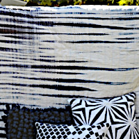 Navy tie dye voile quilt with matching shams by Cloud9 Design.